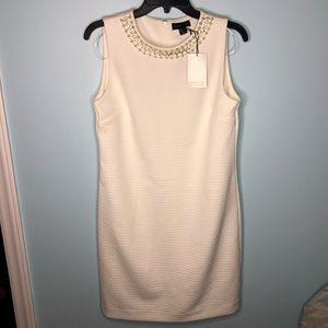 Adrienne Vittadini White Shift Dress Beaded Neck 6